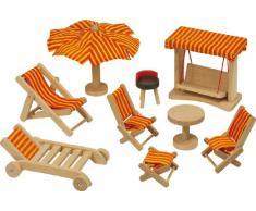 Goki 51913 - Mobili da giardino, 9 pezzi, casa delle bambole mobile