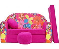 Rosa Tessuto PRO COSMO H4/Bambini Divano Letto futon con Pouf//poggiapiedi//Cuscino 168/x 98/x 60/cm