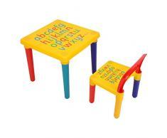 Set tavolo e sedia multifunzionale per bambini, Tavolo da Gioco per Bambini con 1 sedie, in plastica