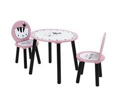 Infantastic Tavolo e sedie rotondi bambini cameretta set tavolo con 2 sedie Miss Miau di legno