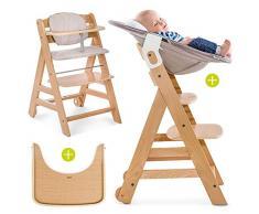 Hauck Beta Plus Newborn - Seggiolone Pappa evolutivo 0 mesi - Con Sdraietta neonato, Riduttore, Cuscino seduta, Vassoio - Altezza regolabile, Legno Chiaro Naturale - Beige