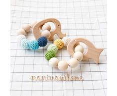 Mamimami Home 2pc bambino Teether legno naturale Anello per la dentizione di cura Beads Crochet giocattolo di legno Pesce Elefante Rattle giocattoli organici del bambino