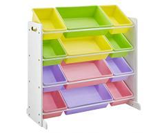 SONGMICS Scaffale per Giocattoli, Mobiletto Multi-Ripiano per Bambini con 12 Scatole in Plastica Rimovibili, Telaio Bianco, Multicolore GKR04KL
