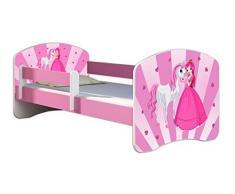 Letto per bambino Cameretta per bambino con materasso Cassetto ACMA II ROSA (08 La principessa con il pony, 160x80 cm)