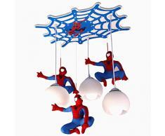 Lampada a sospensione LED Cameretta per bambini Illuminazione Spider-Man lampadario 3 luce Paralume in vetro Lampada decorativa per camera da letto per ragazzi soggiorno Sala da pranzo Plafoniera E27