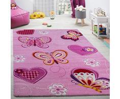 Tappeto Per Cameretta Tappeto Per Bambini Motivo Con Farfalla Con Taglio Sagomato Rosa, Dimensione:120x170 cm