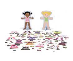 Melissa and Doug Gioco magnetico Bambole in legno con guardaroba magnetizzato