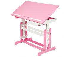 TecTake Scrivania per bambini regolabile in altezza + comò cassettiera a rotelle rosa