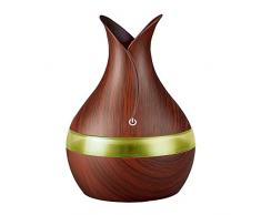 Fesjoy Umidificatore, Macchina per aromaterapia con diffusore dAria USB per umidificatore dAria da 300 ml con Luce a Sette Colori per LUfficio della Camera da Letto Domestica