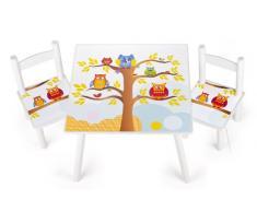 Leomark tavolo e 2 sedie in legno, tavolino set da cameretta per bambini, gioco di gruppo in classe, mobili per bambini, stanza dei bambini mobili alta qualità stabile, tema: GUFI