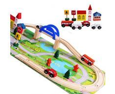Trenino in Legno Giochi Pista Ferrovia Gioco Forme Geometriche per Bambini Macchinine Ferrovia Auto Treno Costruzioni Puzzle per Bambini 3 4 5 6 7 8 Anni