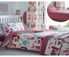 Kidz Club per bambini Wildwood copripiumino per letto singolo e federa Set di biancheria da letto con scoiattoli, gufi, motivo: conigli, colore: bianco