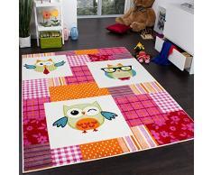 Tappeto Per Bambini Colorato Allegro Con Gufi Quadri Multicolore Crema Fuchisa, Dimensione:160x220 cm