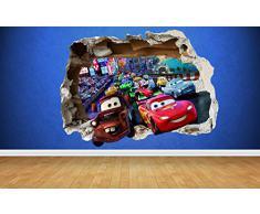 Smashed effetto 3D, Cars 3, adesivo da parete, motivo: Mcqueen Mator di illuminazione camere da letto, mehrfarbig, Large: 77cm x 58cm