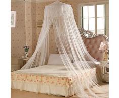 Bodhi2000® Zanzariera rotonda con pizzo in stile principessa, a cupola, effetto letto a baldacchino, bianco