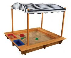 KidKraft Outdoor Sandbox with Canopy White Sabbiera con Tettuccio-Blu Navy e Bianco, Legno, Natural, 163x153x130 cm