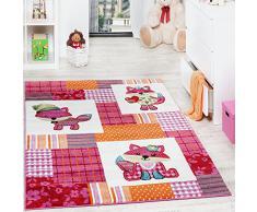 Tappeto Per Bambini Con Grazioso Volpino Animali Fuchsia Rosa Crema, Dimensione:80x150 cm