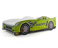 Lettino singolo a forma di macchina Cars 160x80, letto per bambini e ragazzi, MATERASSINO GRATIS (Verde)