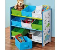 Kesper, Scaffale per Bambini, con 9 cassetti in Tessuto, Blu (Blau)