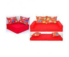 Sofà per bambini divano apribile letto estraibile e angolare 3in1 Collage (rosso macchina D11)