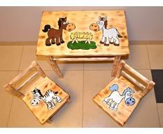 Tolle Seggiolino Gruppo per cameretta bambini tavolo + 2 sedie bambini legno di pino Cavalli.