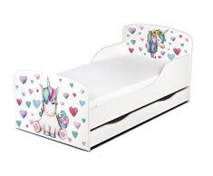 Leomark Letto Lettino per bambini in legno, cassetto cassettone e materasso, rete a doghe, magnifiche stampe, dimensioni del materasso 140 x 70 cm, colore bianco con motivo: UNICORNO Cuori Colorati