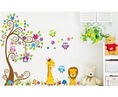 Rainbow Fox Jungle stickers murali adesivi murali civetta albero animali leone giraffa per la decorazione della scuola materna arte della parete murale per le ragazze dei ragazzi camera da letto bambino (230cmx150cm)
