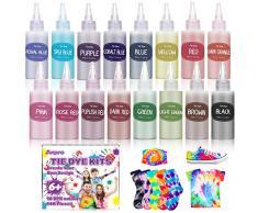 Anpro 148 Pezzi Tie Dye Kit, 16 Coloranti ×100 ml/Bottiglia Tessili Brillanti Tie-Dye, Kit di Materiali per Tintura di Pigmenti Abbigliamento, Adatto per Fai da Te Tie-Dye Art per Bambini e Adulti