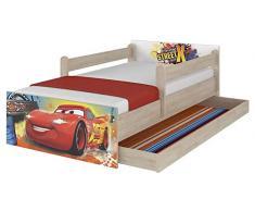 Lettino originale Disney con protezione anti-caduta, cassetto e materasso (80 x 160 cm, Cars)
