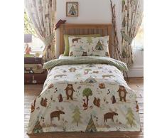 Kidz Club reversibile design Yellowstone Bears set copripiumino e federa set di biancheria da letto per bambini, beige