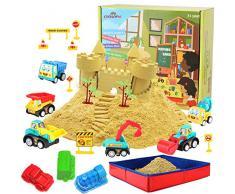 CROSOFMI Sabbia per Bambini 2 Sterline Magica Giochi Pieghevole Sabbiera Veicolo Giocattolo per Ragazzi e Ragazze Oltre i 3 Anni