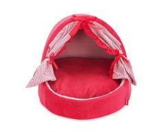 Pet Online Lettino Pet principessa giapponese ventola bow caldo traspirante resistente staccabile pet wc, L: 52 * 42 * 39cm, rosso