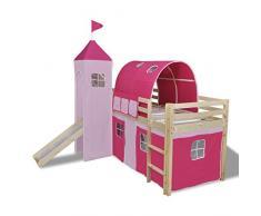 vidaXL Letto con scala principessa rosa naturale telaio in legno castello