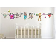 Wallskin Prima Infanzia Adesivo Murale per Bambini Hanging Dogs, Size XL, Vinile, Multicolore, 68 x 98 x 0.2 cm