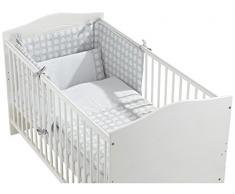 INTERBABY, Set piumone, paracolpi e cuscino per letto grande per bambini, 70 X 140 cm, 3 pz., Grigio (Grau)