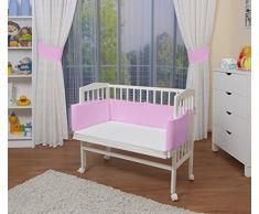 WALDIN Baby,Lettino culla,altezza regolabile,paracolpi e materasso,in 16 varianti,Superficie d'appoggio EXTRA lung. 90 x larg. 55 cm, bianco laccato,rosa