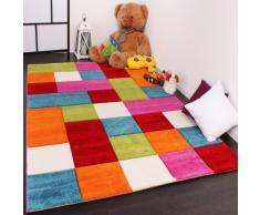 PHC - Tappeto per stanza dei bambini, motivo: quadrati multicolore, colore: Verde/Rosso/Grigio/Nero/Crema/Rosa 80 x 150 cm