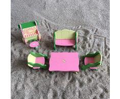 Simulazione Mobili Tavolo Bambola Giocattolo Puzzle di legno Giocattoli Educativi Pretend Playset Simula casa Giocattoli per bambini (Camera degli ospiti, 6Pcs)