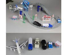 Fajiabao Giocattolo Elettronica Giochi Aeroporto per la Ferrovia con Aereo e Accessori, per Bambini Bambino da 3 Anni, 31 Pezzi