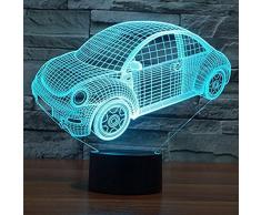 Lampada da tavolo Illusion Illuminazione 3D 7 colori cambia luce notturna per la decorazione domestica della camera da letto Compleanno di nozze Natale e regalo di San Valentino Atmosfera artistica e romantica(Macchina giocattolo 2)
