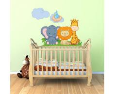 R00142 Adesivo murale per bambini Wall Art - Animaletti sul lettino - Misure 90x30 cm - Decorazione parete, adesivi per muro, carta da parati
