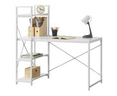 [en.casa] Scrivania Stavanger con Mensole 122 x 120 x 64 Tavolo con 3 Ripiani Studio/Ufficio/Cameretta - Colore Bianco