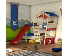 WICKEY Letto a castello CrAzY Castle Letto 2 bambini 90x200 Cameretta bambino con scivolo, scaletta, tetto e rete a doghe, rosso-blu + scivolo rosso