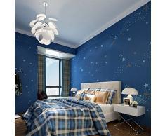 Hanmero via lattea Star Pattern Importazione Nonwovens Rotary Relief Schiuma rimovibile da parati grandi rotoli 52,98 cm x 393 cm per lenzuola seduta stanza dei bambini TV sfondo Recreation stanza blu