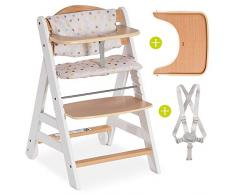 Hauck Beta Plus - Seggiolone evolutivo in legno con vassoio, cintura, cuscino e rotelle - Altezza regolabile, portata fino a 90 kg - Colore bianco