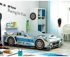 Lettino singolo a forma di macchina Cars 160x80, letto per bambini e ragazzi, MATERASSO GRATIS (Argento)