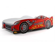 Letto singolo a forma di macchina CARS160x80, lettino per bambini e ragazzi, materasso in spugna compreso nel prezzo. (Rosso)
