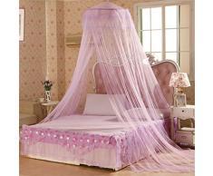 Bodhi2000® Zanzariera rotonda con pizzo in stile principessa, a cupola, effetto letto a baldacchino, viola
