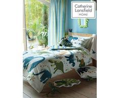 Catherine Lansfield Kids - Coperta per letto dei bambini, motivo: dinosauri, mehrfarbig, Singolo trapunta