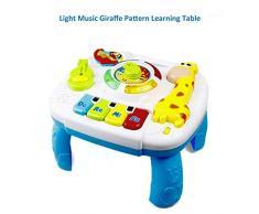 Tabella di attività di apprendimento musicale per bambini, suoni di animali incorporati, funzione di musica e illuminazione, tavolo da gioco del centro di attività per bambini di 1 2 3 4 5 anni